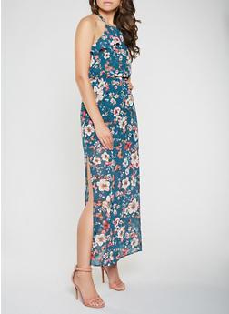Floral Halter Neck Maxi Dress - 1410069391475