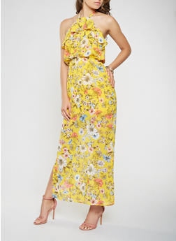 Floral Halter Neck Maxi Dress - 1410069391475