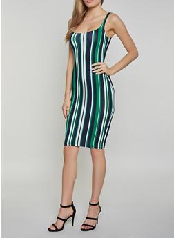 Striped Scoop Neck Soft Knit Tank Dress - 1410069391492