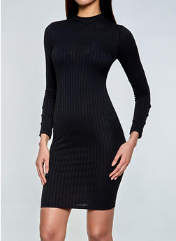 Mock Neck Rib Knit Bodycon Dress - 1410069392112