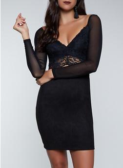 Lace Detail Faux Suede Bodycon Dress - 1410069392195