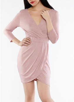 Faux Wrap Bodycon Dress - 1410069392670