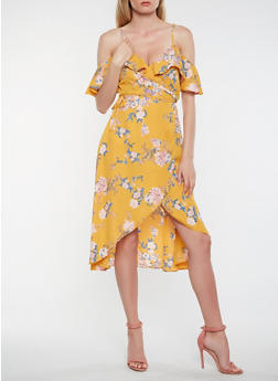 Floral Off the Shoulder High Low Wrap Dress - 1410069392759