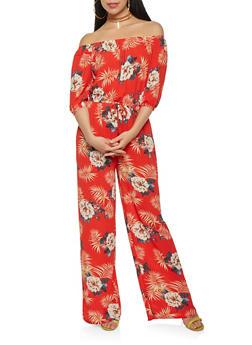 Printed Off the Shoulder Wide Leg Jumpsuit - 1410069393014