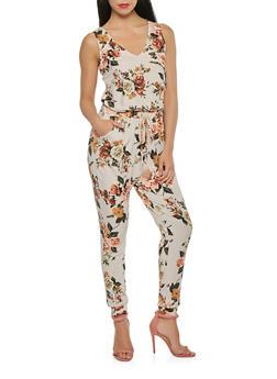 Floral Soft Knit Jumpsuit - 1410069393231