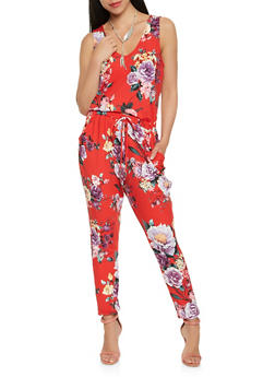 Floral Soft Knit Jumpsuit - 1410069393231