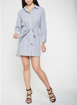 Striped Shirt Dress - 1410069393382