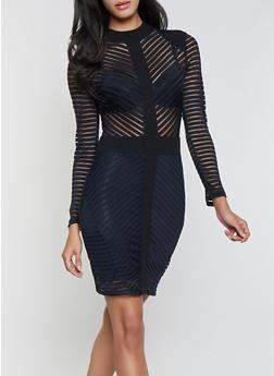 Shadow Stripe Bodycon Dress - 1410069393417
