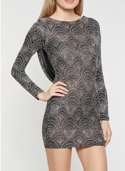 Draped Back Shimmer Knit Dress - 1410069393433