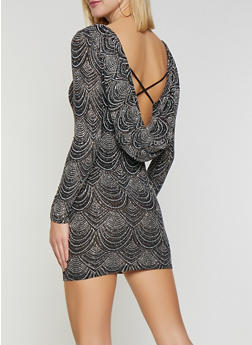 Draped Back Shimmer Knit Dress - 1410069393434