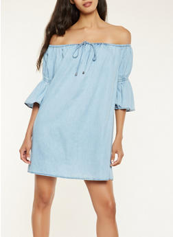 Off the Shoulder Chambray Dress - 1410069393490