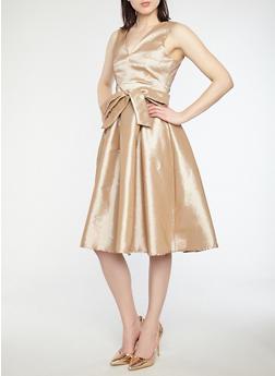 Taffeta Midi Skater Dress - 1410069393506