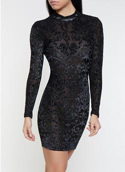 Caged Back Velvet Burnout Dress - 1410069393547