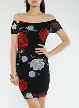 Rose Print Off the Shoulder Mesh Dress - 1410069393593