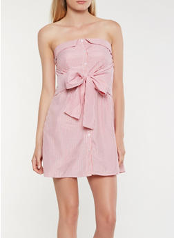 Striped Fold Over Shirt Dress - 1410069393608