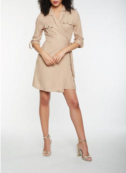 Long Sleeve Tie Waist Wrap Dress - 1410069393609