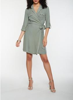 Long Sleeve Tie Waist Wrap Dress - 1410069393609
