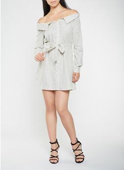 Striped Fold Over Off the Shoulder Dress - 1410069393610