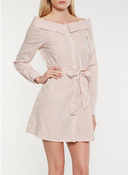 Striped Fold Over Off the Shoulder Dress - 1410069393610