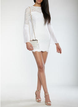 Pleated Bell Sleeve Lace Dress - WHITE - 1410069393611
