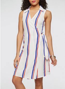 Textured Knit Striped Wrap Dress - 1410069393612