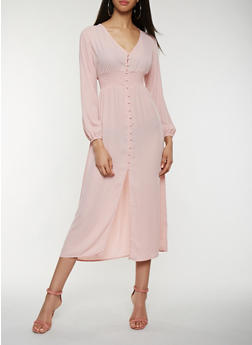 Button Front Smocked Waist Dress - 1410069393626