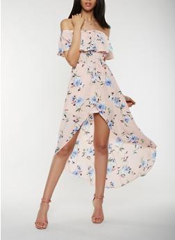 Floral Off the Shoulder Dress - 1410069393629
