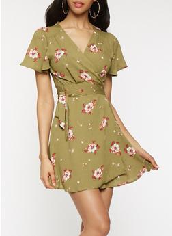 Floral Mini Wrap Dress - 1410069393637