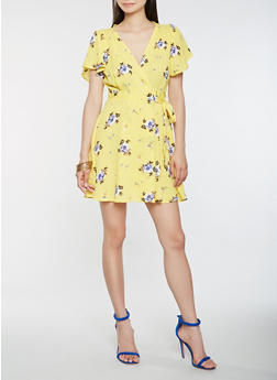 Floral Mini Wrap Dress - 1410069393637