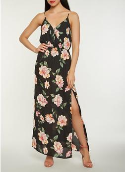 Floral Faux Wrap Slit Maxi Dress - 1410069393645