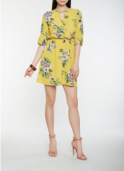 Floral Faux Wrap Keyhole Dress - 1410069393654 2e9104560