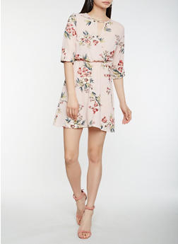 Floral Faux Wrap Keyhole Dress - 1410069393654