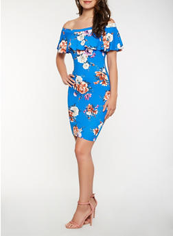Printed Off the Shoulder Bodycon Dress - 1410069393659