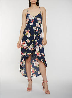 Floral Smocked Waist High Low Dress - 1410069393672