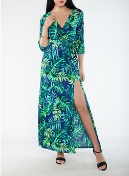 Printed Faux Wrap Maxi Dress - 1410069393681