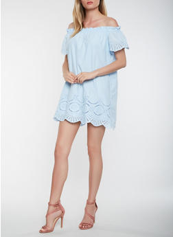 Off the Shoulder Eyelet Dress - 1410069393683