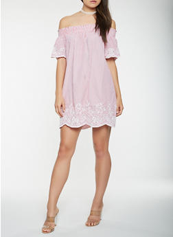 Striped Eyelet Off the Shoulder Dress - 1410069393693