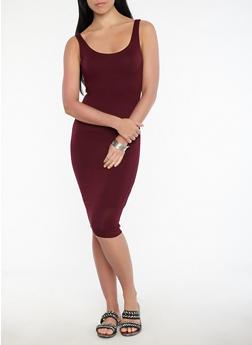 Knit Bodycon Dress - BURGUNDY - 1410069393694