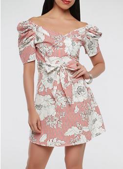 Printed Faux Wrap Dress - 1410069393758