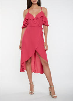 Off the Shoulder High Low Wrap Dress - 1410069393759