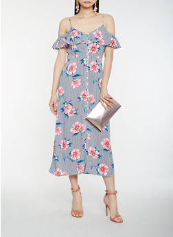 Striped Floral Cold Shoulder Midi Dress - 1410069393760 69aa2bb44