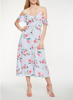 Striped Floral Cold Shoulder Midi Dress - 1410069393760