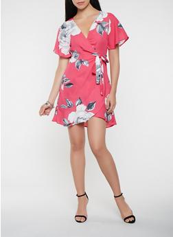 Floral Wrap Dress - 1410069393762