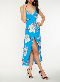 Floral Faux Wrap Maxi Dress - 1410069393774