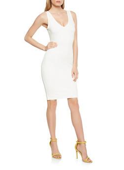 Ponte Midi Tank Dress - WHITE - 1410069393775