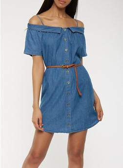 Chambray Off the Shoulder Button Front Dress - 1410069393795