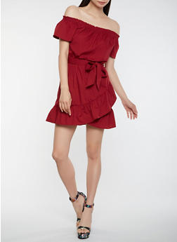 Off the Shoulder Ruffle Dress - 1410069393796