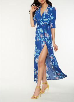 Printed Faux Wrap Maxi Dress - 1410069393798