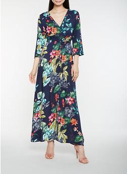 Floral Button Front Maxi Dress - 1410069393809