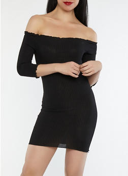Ribbed Knit Ruffle Off the Shoulder Dress - 1410069393812